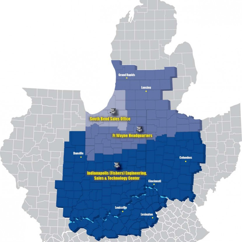 Indiana Fluid Power Marketing Area Map